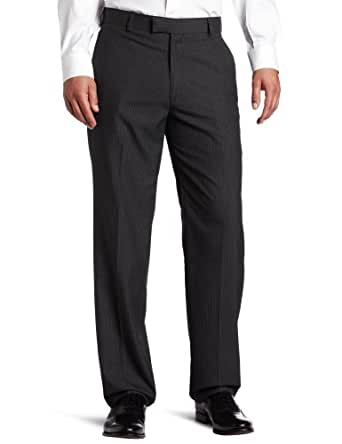 Haggar Men's Textured Pinstripe Tailored Fit Plain Front Suit Separate Pant, Charcoal Heather, 32/30