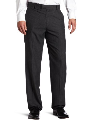 Pinstripe Pants Suit (Haggar Men's Textured Pinstripe Tailored Fit Plain Front Suit Separate Pant, Charcoal Heather, 32/30)