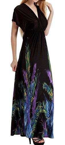 Woman Loose Boho Maxi Dress Batwing Double V-neck Empire Waist Long Beach Dress Size L,Black with Feather,4/6