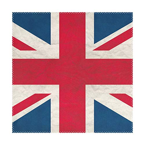 Placemats UK Flag 12x12 inch one Piece Heat Resistant Non Slip for Dinning Table (Uk Rattan Placemats)