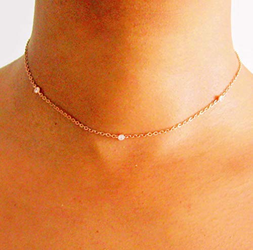 Rose Gold Dainty CZ Diamond Crystal Choker Necklace for Womens Rose Gold Chain 14