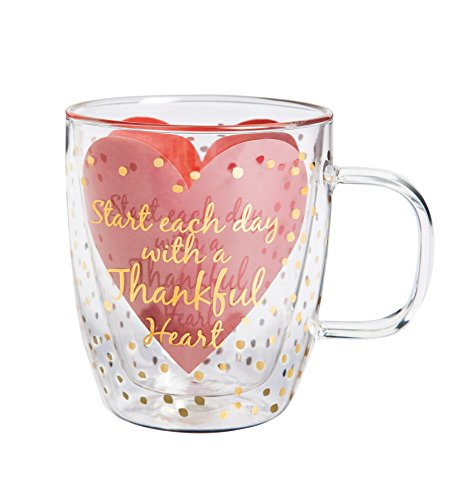 "Cypress Home Metallic Thankful Heart 12 oz Artisan Double-Wall Glass Coffee or Tea Café Cup in Coordinating Gift Box - 4.75""W x 4"