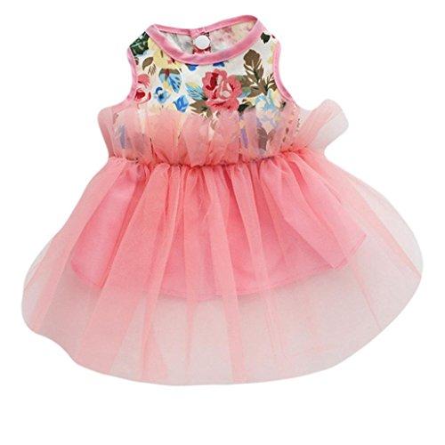 AMA(TM) Pet Puppy Small Dog Cat Princess Tutu Dress Skirt Clothes New Year Apparel Costume (L, Pink) - Pink Velvet Princess Costumes