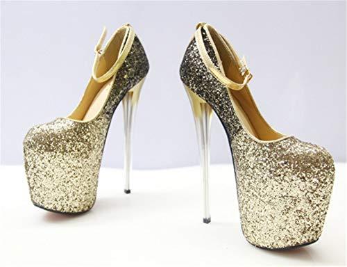 Festa Col Chiusa Gold Tonda Shoes Scarpe Stiletto Plateau Hnm Platform Tacco Alla Donna Punta Cinturino Caviglia t1w60tBxq
