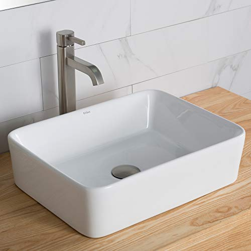 Kraus C-KCV-121-1007SN White Rectangular Ceramic Sink and Ramus Faucet Satin Nickel