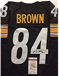 Autographed/Signed Antonio Brown Pittsburgh Black Football Jersey JSA COA