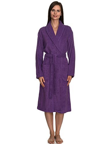 TowelSelections Women's Robe, Turkish Cotton Terry Shawl Bathrobe Medium/Large Purple Heart (Terry Cloth Shawl)