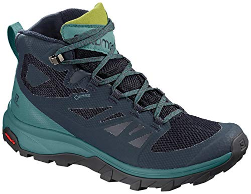 Backpacking Mid Boot Gtx (Salomon Women's Outline Mid GTX W Hiking Shoe, Navy Blazer/Hydro. / Guacamole)