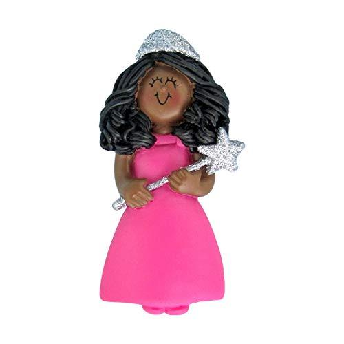 (Personalized Princess Christmas Tree Ornament 2019 - Beautiful African-American Fairytale Cinderella Baby Girl Dress Glitter Crown Star Wand Rhinestone Toy - Free Customization (Female)