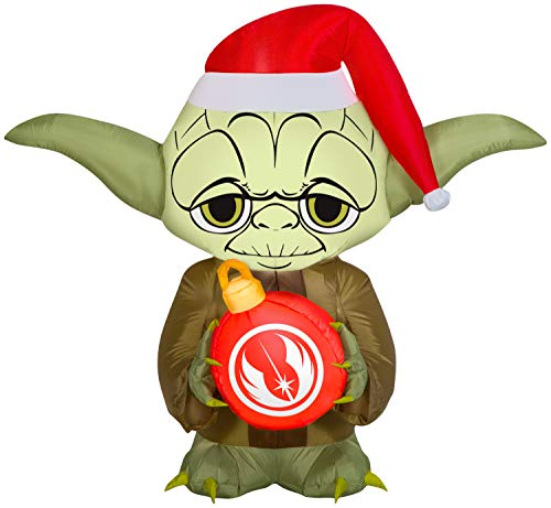 Gemmy Star Wars Christmas Inflatable Yoda with Wreath 5FT Tall Indoor/Outdoor Holiday Decoration