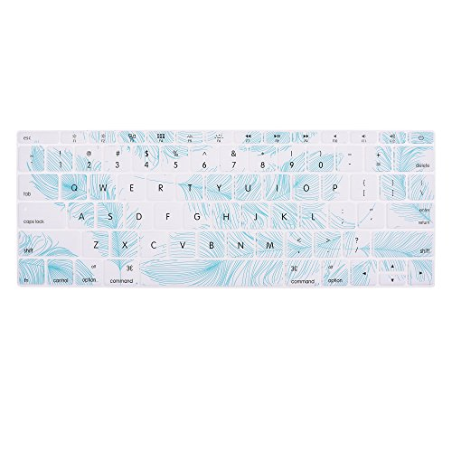 Case Star Feather Series Silicone Keyboard Cover Skin for Apple Macbook 12 Inch Retina Display A1534 (Aqua Feather / White Color)