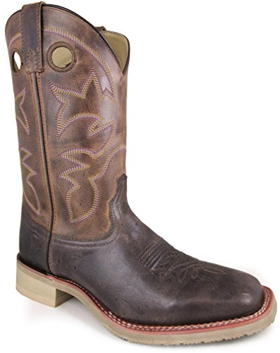 Image of Smoky Mountain Men's Landon Pull On Stitched Square Toe Brown Oil Distress/Brown Crackle Boots 10.5EE