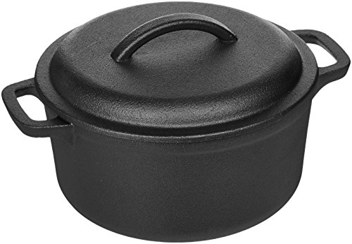 AmazonBasics Pre-Seasoned Cast Iron Dutch Oven with Dual Handles - 2-Quart (Enamel Non Stick Iron)