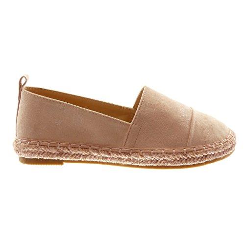 Heel Angkorly Block Pink Slip Espadrilles Braided Shoes Fashion 2 on Women's cm Cord z84prwqz
