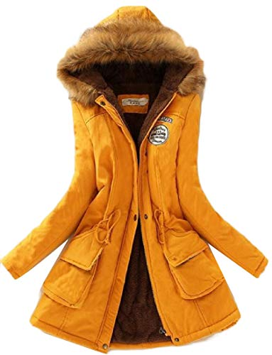 H&E Womens Winter Thicken Faux Fur Hooded Fleece Lined Outwear Parka Coat Yellow