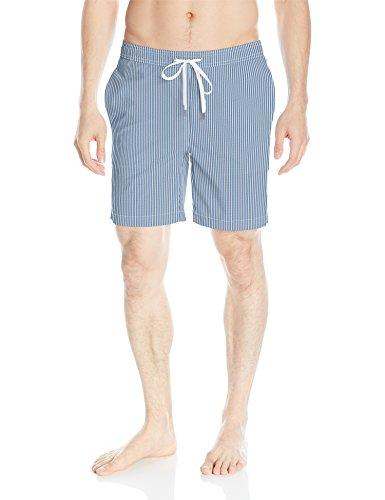 Onia Men's Charles 7 inch Stretch Pattern Swim Trunk, Denim/White, Medium by onia
