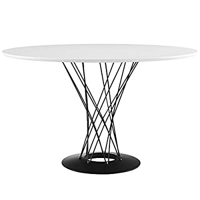 "Modway Cyclone 47"" Mid-Century Modern Round Steel Pedestal Kitchen and Dining Table in White - DINING ROOM UPDATE - Ideal for the breakfast nook, kitchen, or dining room, this mid-century modern dining table measures 47"" across, and comfortably accommodates four dining side chairs MID-CENTURY MODERN - Iconic accents, striking details, and a sleek silhouette turn this retro-inspired round dining table into a conversation piece for mid-century and modern themed homes PEDESTAL BASE - Anything but ordinary, this circular dining table sits atop a striking wire base and coated cast-iron foot ring. The playful arrangement of steel rods instills eye-catching dimension - kitchen-dining-room-furniture, kitchen-dining-room, kitchen-dining-room-tables - 41Hx1hcvkVL. SS400  -"