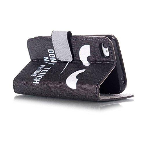 Fenrad®Noir yeux Design Portefeuille PU Cuir Stand Flip Etui Housse Shell Coque Case Cover pour Apple iPhone 5C Etui Housse de Protection avec Carte crédit/ Business/Carte Bancaire & Stylus