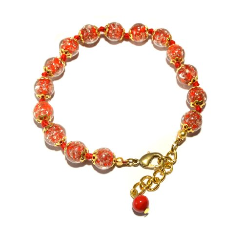 Red Bracelet Bead Glass (Genuine Venice Murano Sommerso Aventurina Glass Bead Strand Bracelet in Red, 8+1