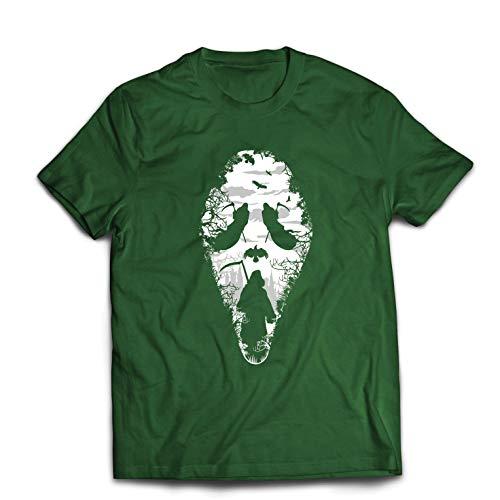 lepni.me Men's T-Shirt Tribal Grim Reaper Scream - Death Creepy Scary (Small Bottle Green Multi Color) ()