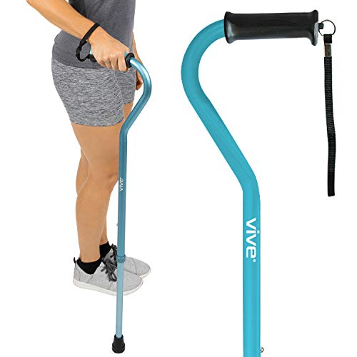 Vive Walking Cane - For Men & Women - Portable, Adjustable Offset Balance Stick - Lightweight & Sturdy Mobility Walker Aid For Arthritis, Elderly, Seniors & Handicap (Teal)