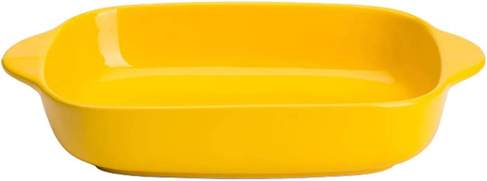 Ceramic Glaze Baking Dish for Oven Individual Roasting Lasagna Pan Small Casserole Bakeware with Handle, Yellow