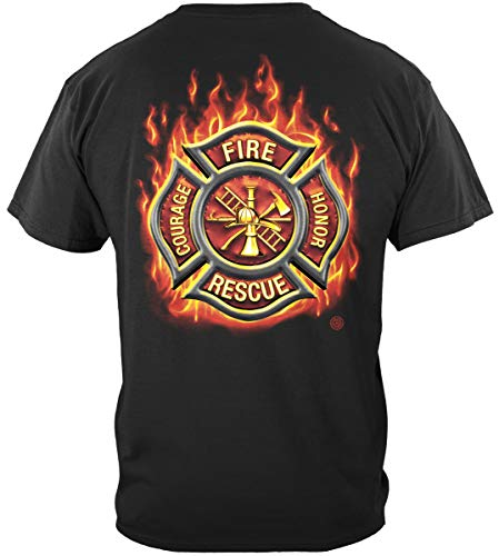 Firefighter T Shirt Firefighter Classic Fire Maltese American Flag Marine Corps US Army Air Force US Navy Firefighter 100% Cotton T Shirt Black ADD115-FF2065XXL XX-Large