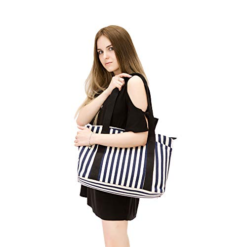 Canvas Tote Bag with Multiple Pocket/Zipper Closure Sholuder Bag/Travel Bag for Weekend/7 Pocket/Perfect Bag for Gift by sornean (Image #3)