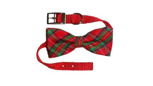 "Dog Collar with Bow Tie, Red Plaid (20"" x 3/4"")"