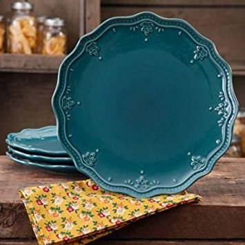 The Pioneer Woman Farmhouse Lace Dinner Plate Set (ocean teal/Plate Set, 4-Pack) -