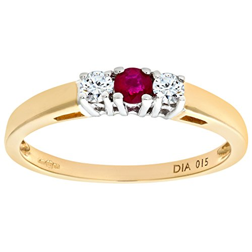 Naava 9ct Yellow Gold Ladies Diamond and Ruby Ring mxvegvzZ
