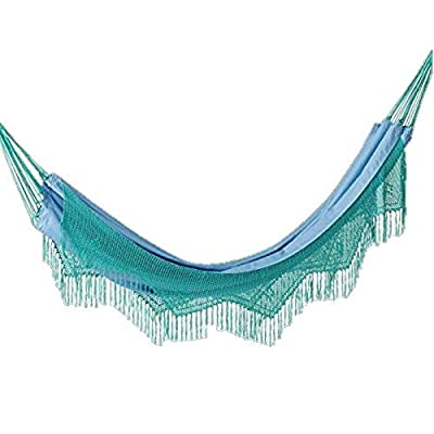 Opalhouse Macrame Hammock with Fringe - Light Blue - Brand New in box. The product ships with all relevant accessories - patio-furniture, patio, hammocks - 41Hx3VVICtL. SS400  -
