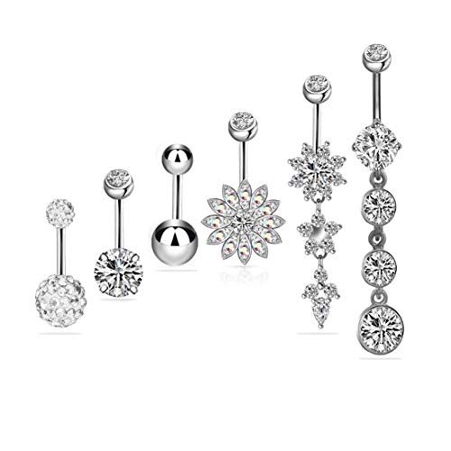 6PCS 14G 316L Stainless Steel Dangle Opal Belly Button Rings for Women Girls Navel Rings Curved Barbell Body Piercing (Silver)