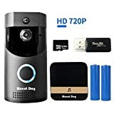 WiFi Smart Video Doorbell Camera Door Bell 720P HD Wireless Home Security Doorbell Camera with 16GB Storage Card 2 Rechargeable Battery for iOS Android Google (B30-720P)