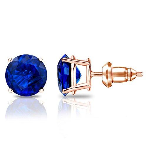 Diamond Wish 14k Rose Gold Round Blue Sapphire Gemstone Stud Earrings (2 carat TW) 4-Prong Basket, Secure Lock Back