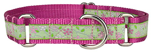 Country Brook Design Fresh Spring Floral Woven Ribbon on Rose Martingale Dog Collar Limited Edition - Large
