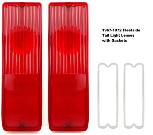 (Pair 67-72 Chevy Truck Fleetside Tail Light Lamp Lenses C/K with Gaskets )