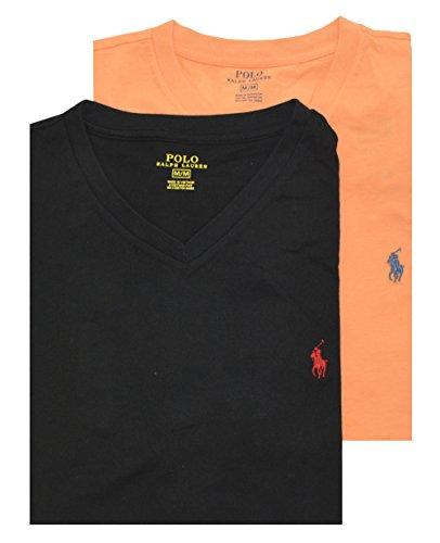 Polo Ralph Lauren Men Assorted 2 Pack V-Neck T-shirt (L, Mandarin /Black)