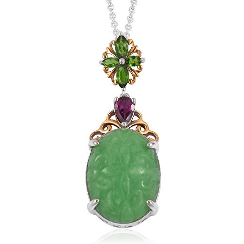 Green Jade, Multi Gemstone 14K Yellow Gold Plated and Sterling Silver Pendant With Chain Size 18