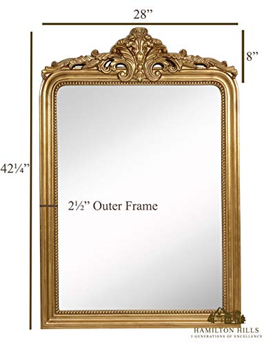 Hamilton Hills Top Gold Baroque Wall Mirror | Rich Old ...