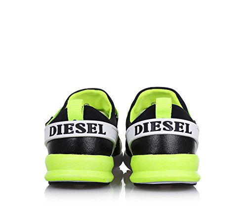 DIESEL - Chaussure noire et jaune phosphorescent en tissu, pièces en cuir et caoutchouc, garçon, garçons