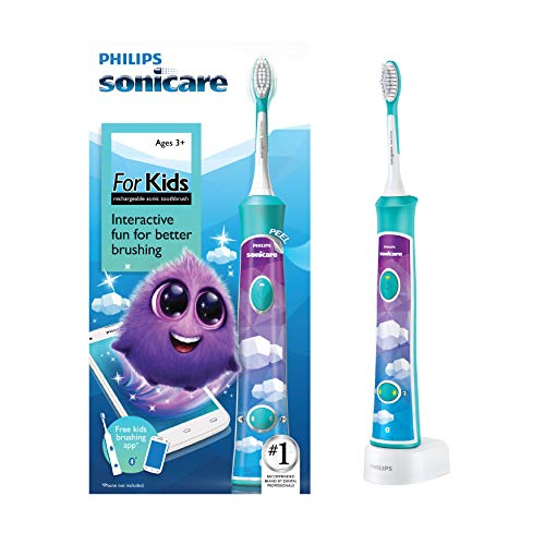 Philips Sonicare for Kids Rechargeable Electric Toothbrush, Blue HX6321/02 (Best Tooth Brushing App For Toddlers)