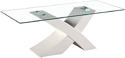 Best living room table: Fab Glass and Mirror White Glass Coffee Table 23.5″ X 47″