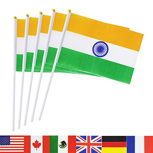 TSMD India Stick Flag, 50 Pack Hand Held Small Indian National Flags On Stick,International World Country Stick Flags Banners,Party Decorations for Olympics,Sports Clubs,Festival Events Celebration