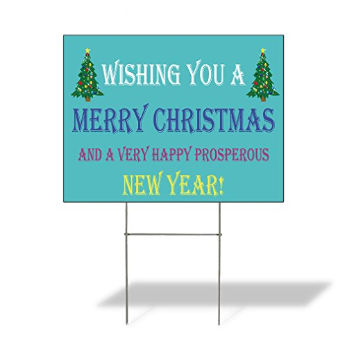 Plastic Weatherproof Yard Sign Merry Christmas and Happy New Year! Christmas Tree Christmas Yellow Merry Christmas for Sale Sign Multiple Quantities Available 18inx12in One Side Print One Sign