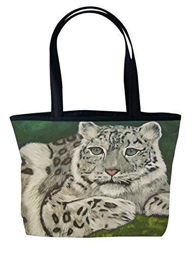 - Snow Leopard Shoulder Bag, Vegan Tote Bag - Animal Prints - From My Original Paintings - Support Wildlife Conservation, Read How (Snow Leopard - Highland Veil)