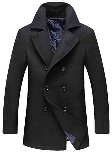 Youhan Men's Fitted Overcoat Cashmere Pea Coat (Large, H/Black)