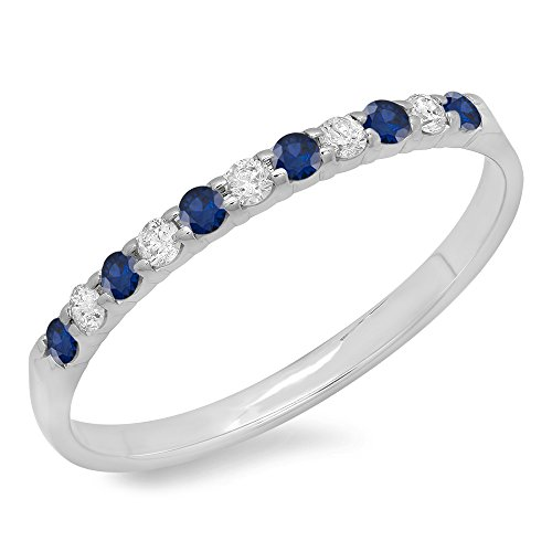 DazzlingRock Collection 10K White Gold Round Blue Sapphire & White Diamond Anniversary Wedding Ring Stackable Band (Size (Sapphire Fashion Stackable Ring)