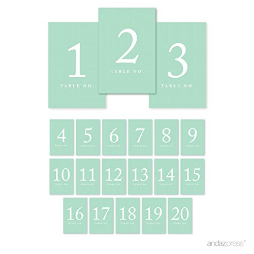 Andaz Press Table Numbers 1-20 on Perforated Paper, Mint Green, 4x6-inch Single Sided Sign, 1-Set, for Weddings, Graduation