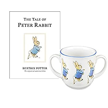 Peter Rabbit Beatrix Potter Baby Gifts Two Handled Mug and Childrens Book The Tales of Peter Rabbit